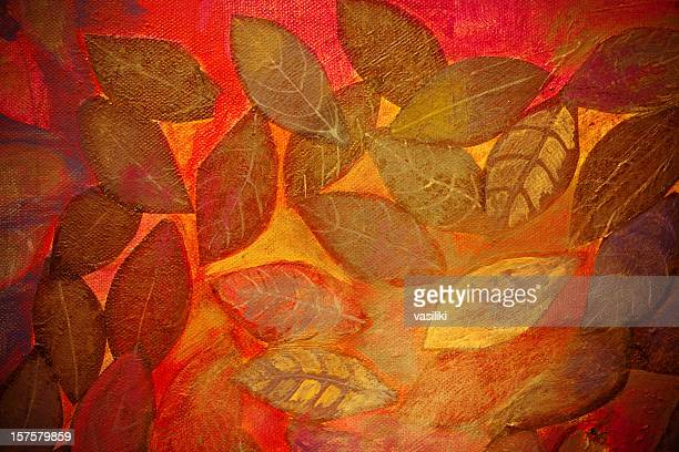 Leaves on red background