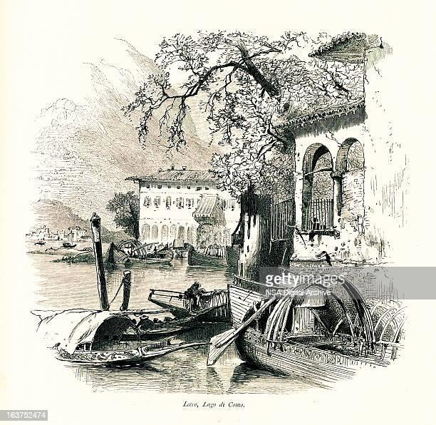 lecco, lake como, italy i antique european illustrations - village stock illustrations