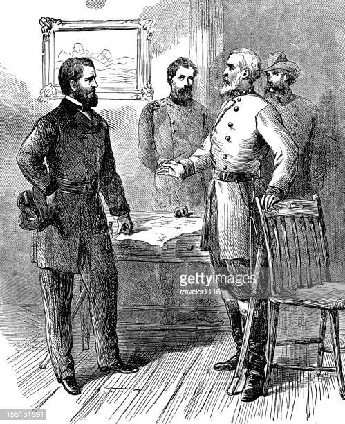 lee surrenders to grant - ulysses s grant stock illustrations