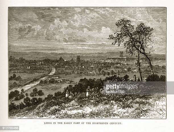 leeds, england in the early 18th century victorian engraving - savannah stock illustrations, clip art, cartoons, & icons