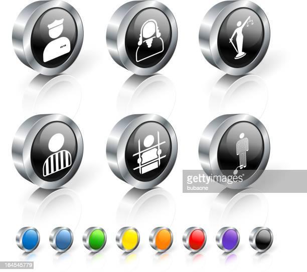 Justizsystem am Arbeitsplatz lizenzfreie vektor icon-set