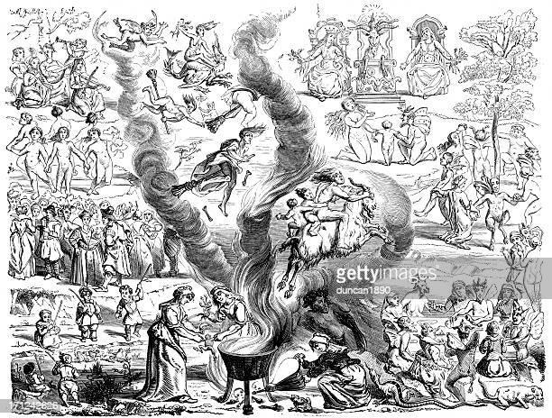 legend of the black sabbath - cauldron stock illustrations, clip art, cartoons, & icons