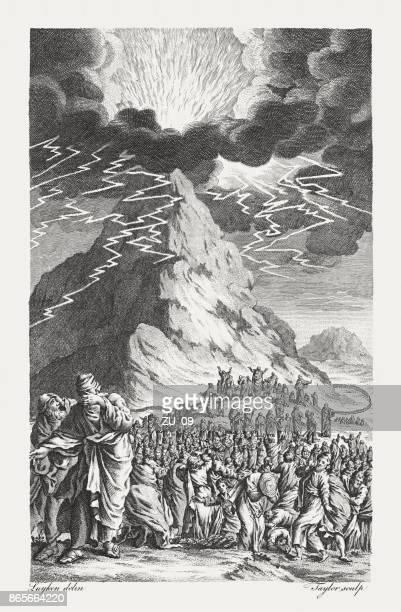 legislation to israel at mount sinai (exodus 19), published 1774 - mt sinai stock illustrations