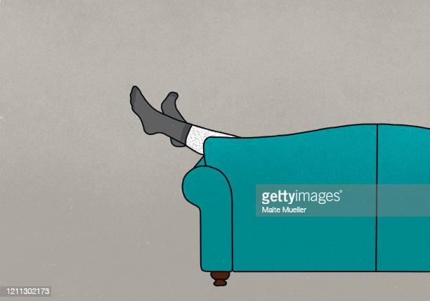 illustrations, cliparts, dessins animés et icônes de legs of man in socks dangling off sofa - mou