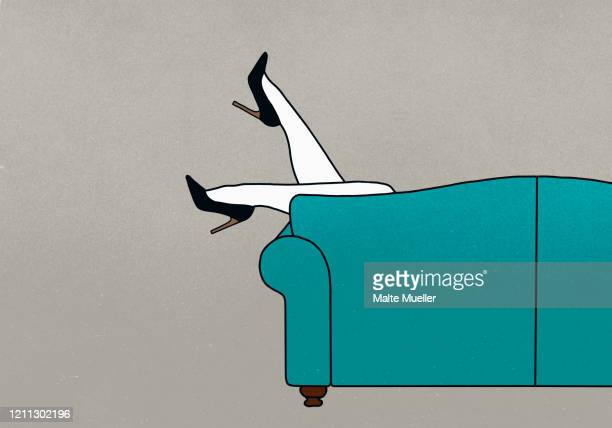 legs of woman dangling over sofa - carefree stock illustrations