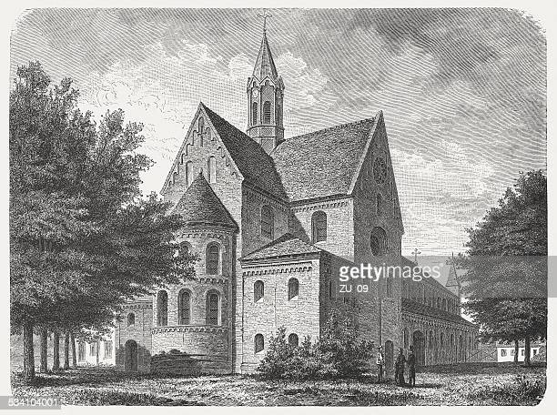 lehnin abbey, brandenburg, germany, wood engraving, published in 1882 - circa 10th century stock illustrations