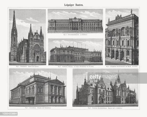 Leipzig's representative buildings from the past, wood engravings, published 1897