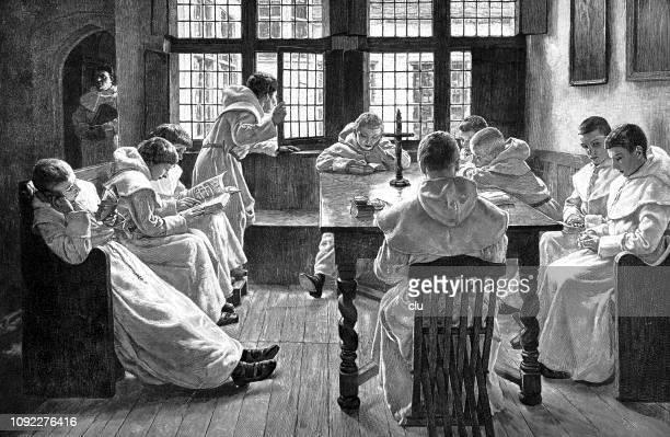 stockillustraties, clipart, cartoons en iconen met vrijetijd in het klooster school - klooster