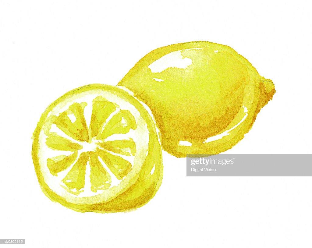 Lemon and Lemon Half : Stock Illustration