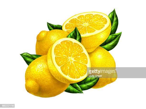 lemon three with halves - 切る点のイラスト素材/クリップアート素材/マンガ素材/アイコン素材