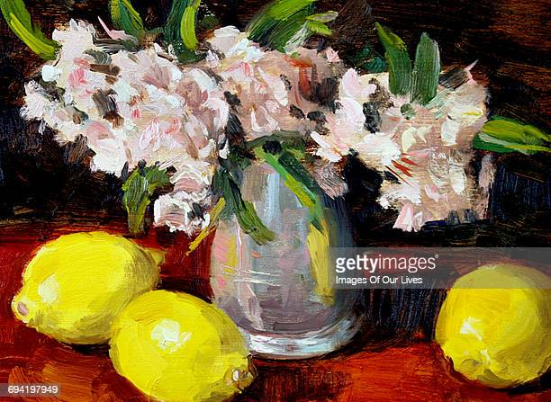 lemons and pink flowers - oil painting stock illustrations