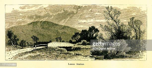lenox, massachusetts   historic american illustrations - village stock illustrations