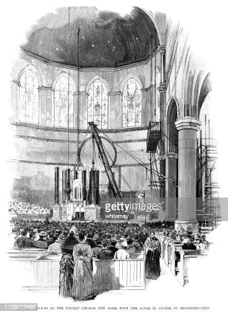 lenten service at the paulist church, new york, with the altar in course of reconstruction - lent stock illustrations