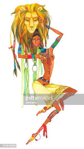 illustrations, cliparts, dessins animés et icônes de leo. signes du zodiaque. - masque africain
