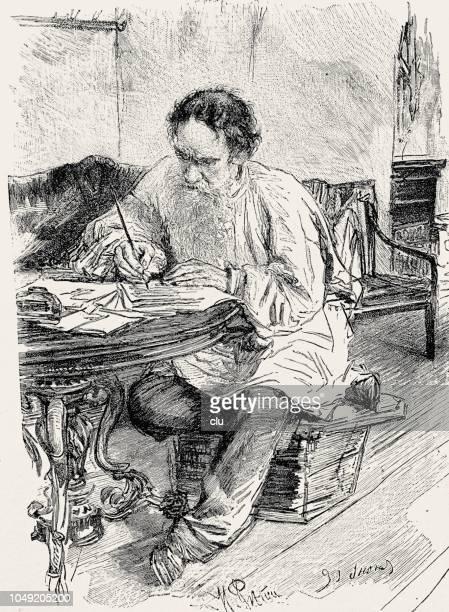 leo tolstoy in his study - leo tolstoy stock illustrations