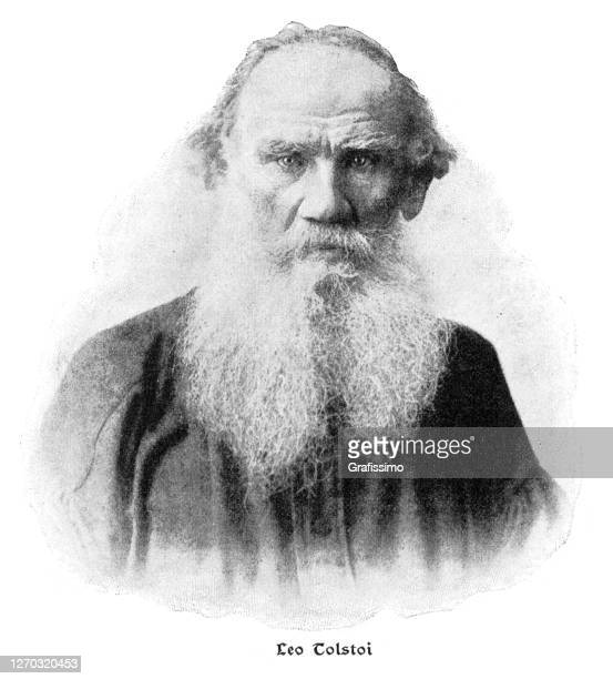 leo tolstoy russian writer and author portrait 1900 - leo tolstoy stock illustrations
