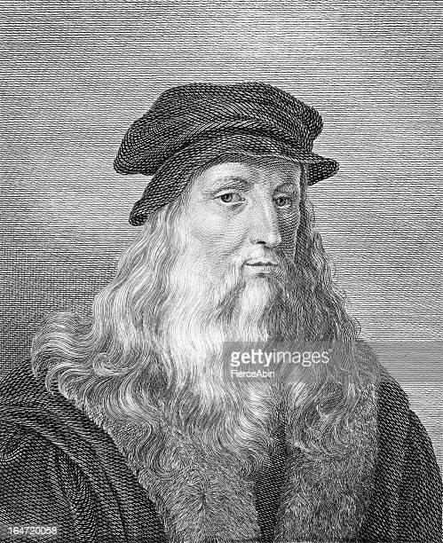 Leonardo da Vinci - Antique Engraved Portrait
