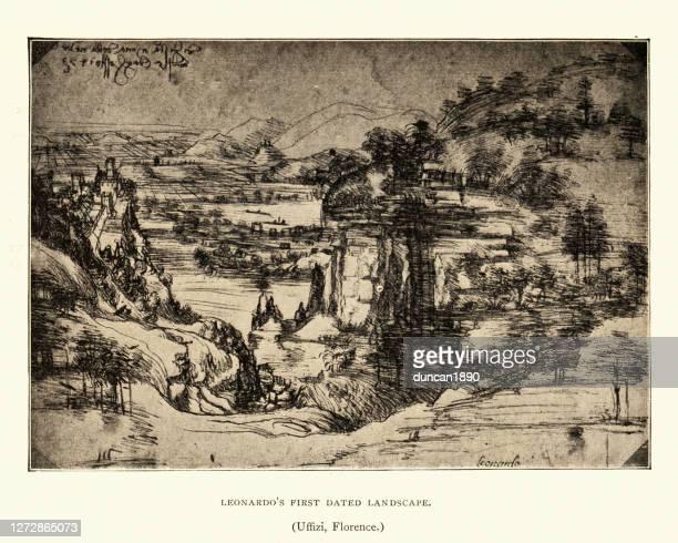 leonardo's first dated landscape, renaissance art - high renaissance stock illustrations