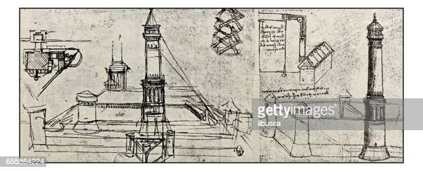 skizzen und zeichnungen von leonardo da vinci: leuchtturm-projekt - technische zeichnung stock-grafiken, -clipart, -cartoons und -symbole