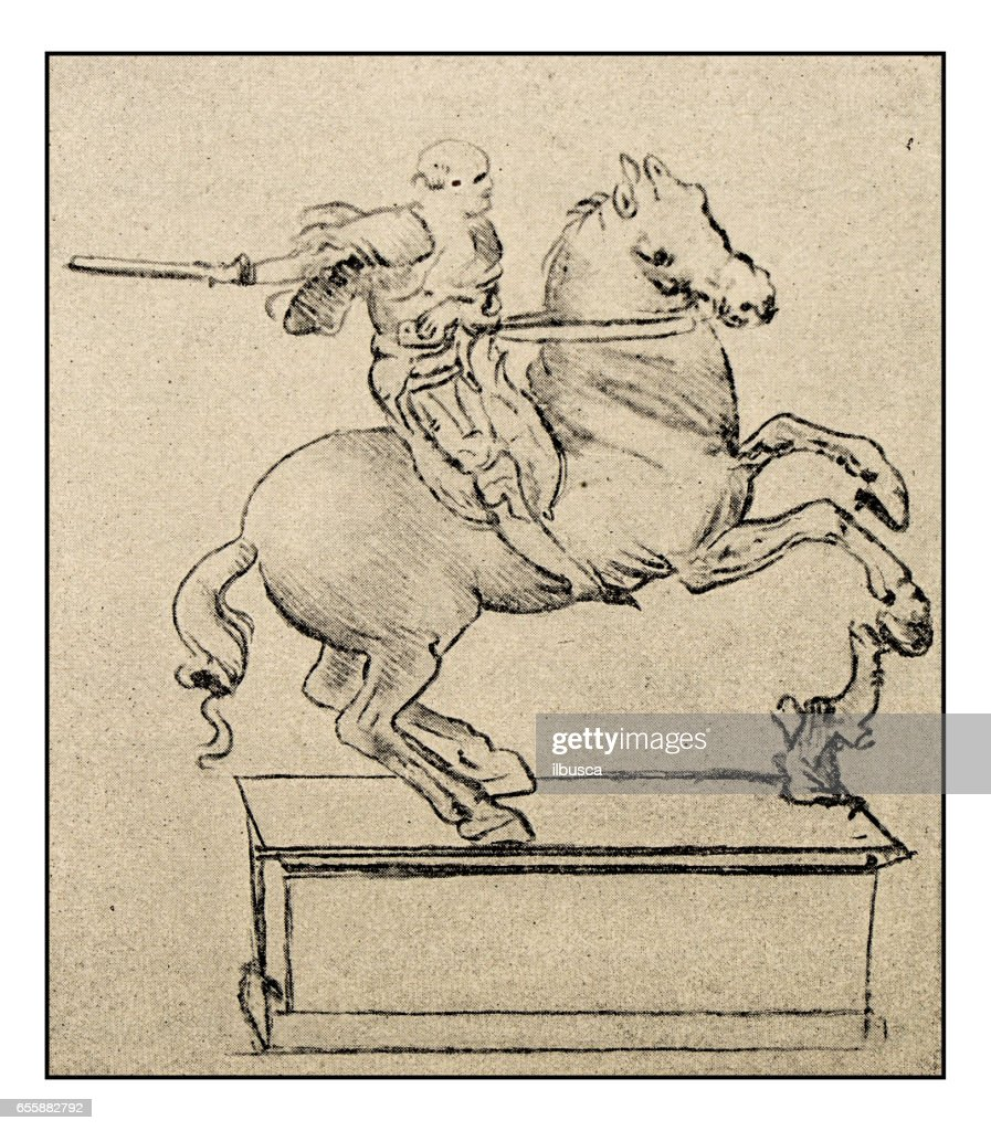 Leonardos Sketches And Drawings Man On Horse High Res Vector Graphic Getty Images