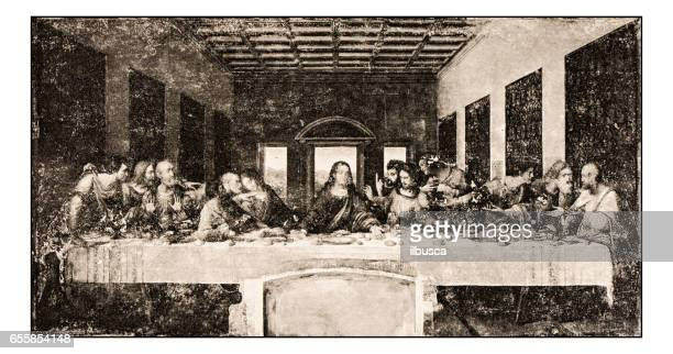 leonardo's sketches and drawings: the last supper - last supper stock illustrations