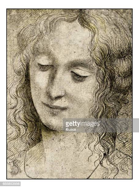 leonardo's sketches and drawings: virgin of 'virgin of the rocks' - classical style stock illustrations, clip art, cartoons, & icons
