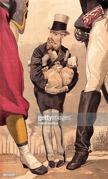 Leopold II King of the Belgians with his arms full of money bags and cowering between the legs of two soldiers on either side Original Publication...