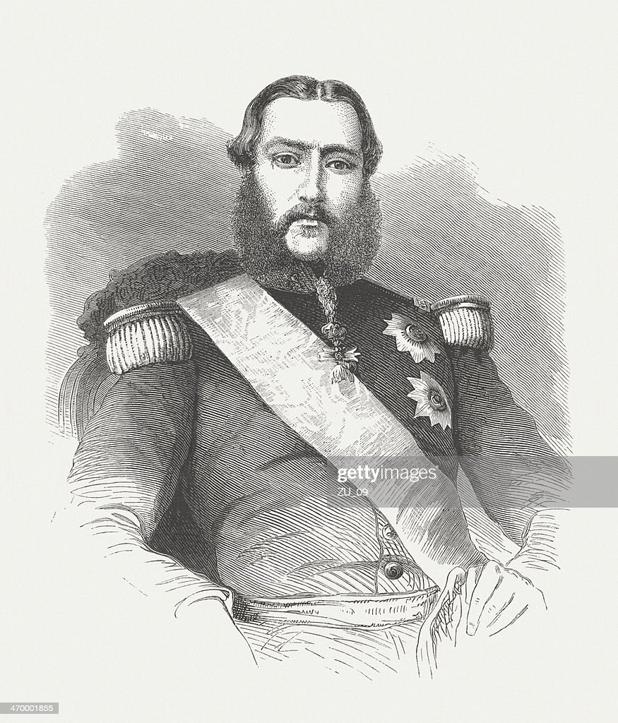 Leopold II of Belgium (1835-1909), wood engraving, published in 1875 : Stock Illustration