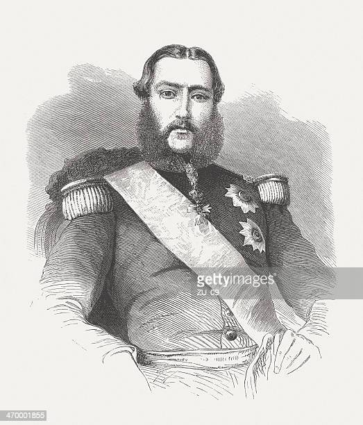 Leopold II of Belgium (1835-1909), wood engraving, published in 1875