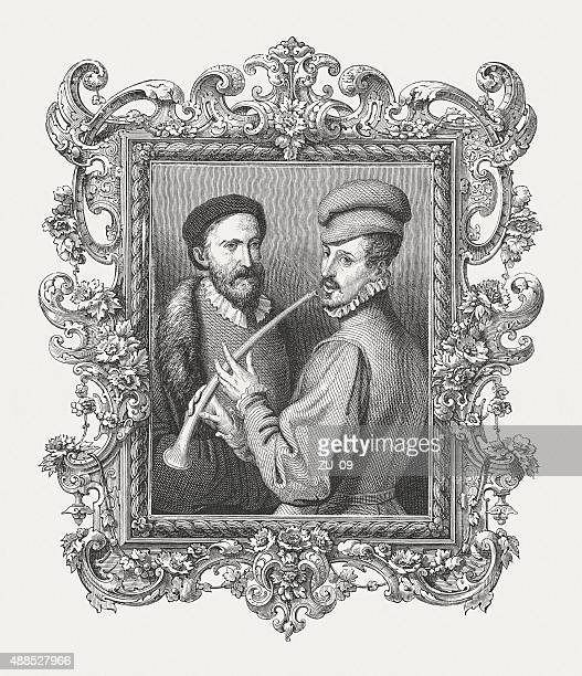lesson on the flute, published in 1878 - tiziano vecellio stock illustrations, clip art, cartoons, & icons