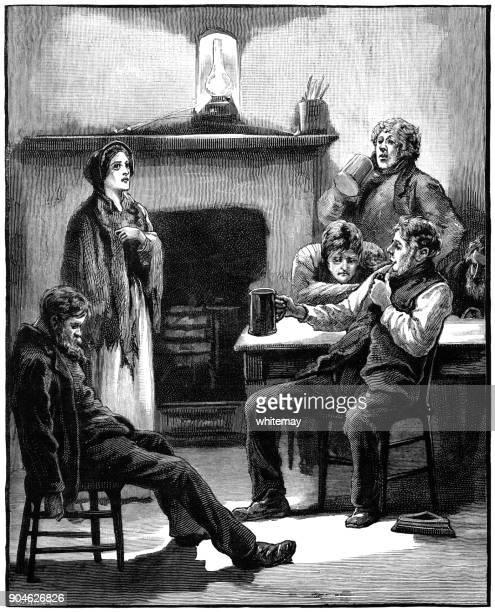 女性の訪問者と無気力に見えるビクトリア朝家族