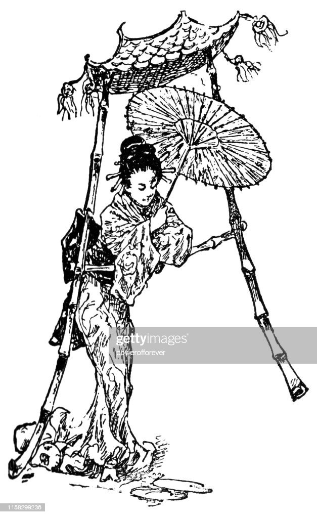 Letter A with Japanese Geisha - 19th Century : Stock Illustration