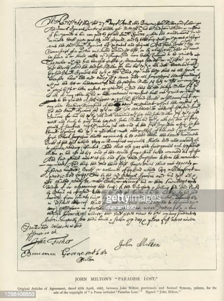 ジョン・ミルトンの楽園失われた17世紀のための合意の手紙アータイル - 17世紀点のイラスト素材/クリップアート素材/マンガ素材/アイコン素材