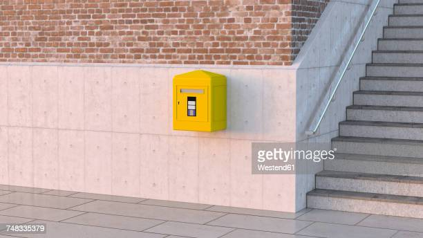 Letter box on concrete wall, 3d rendering