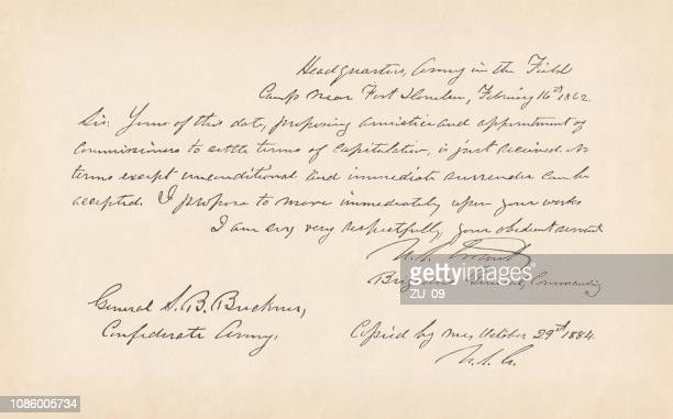 letter by general u.s. grant (1862), american civil war, facsimile - ulysses s grant stock illustrations