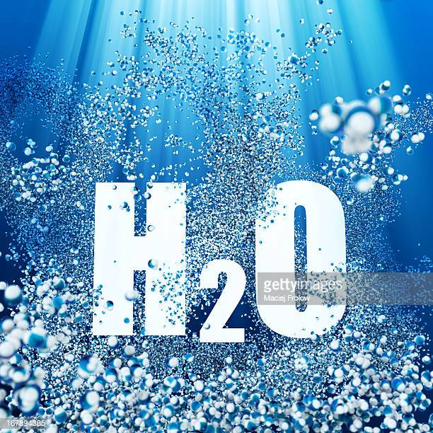 h2o lettering surrounded of water molecules - the alphabet stock illustrations