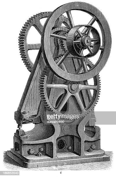 lever shears or sheet metal punch - industrial revolution machinery - industrial revolution stock illustrations
