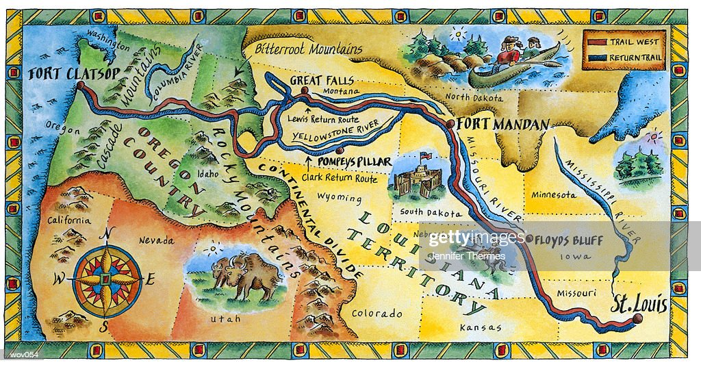 Lewis & Clark Expedition Map : Stockillustraties