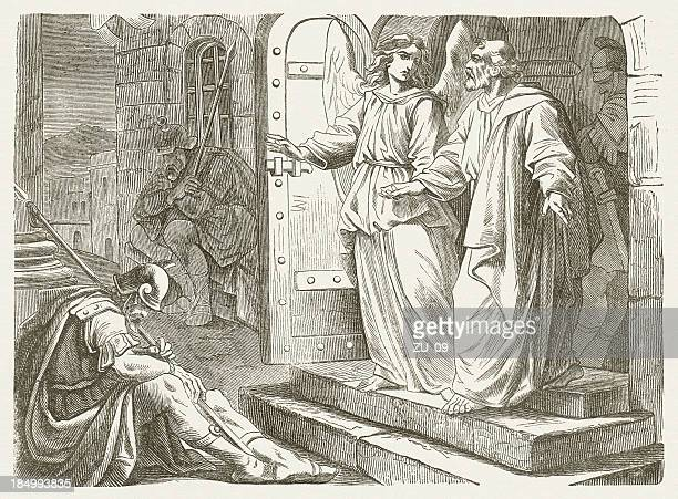liberation of peter from prison (acts 12), published in 1877 - free bible image stock illustrations