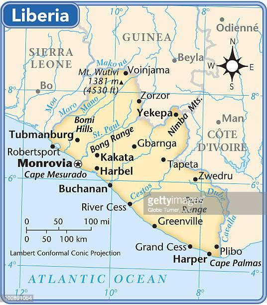 liberia country map - liberia stock illustrations, clip art, cartoons, & icons