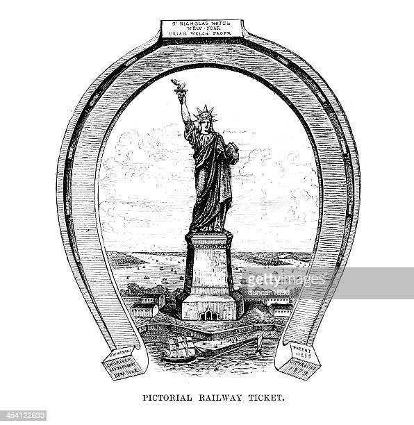 liberty lighting up the world - liberty island stock illustrations, clip art, cartoons, & icons