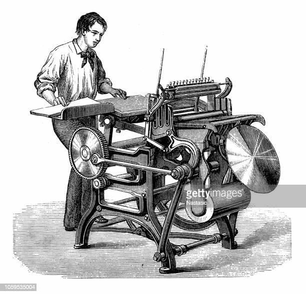 liberty press (1857) by frederick otto degene - printing press stock illustrations