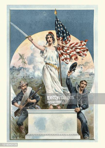 liberty victorious during the spanish american war of 1898 - us military stock illustrations