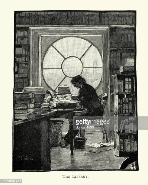 librarian at work in the white house library, 19th century - authors stock illustrations