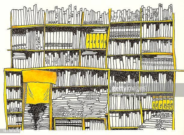 library - in a row stock illustrations