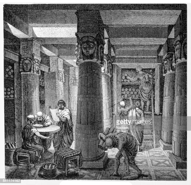 library of alexandria - ancient stock illustrations