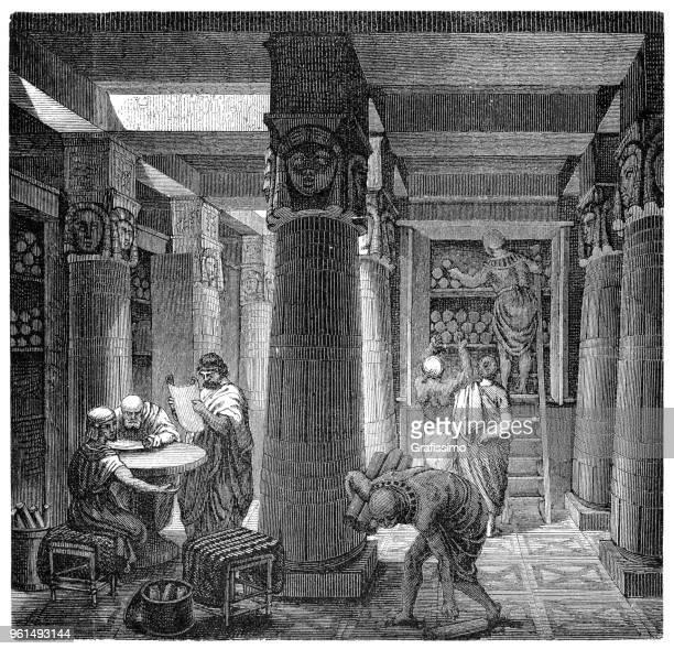 library of alexandria or bibliotheca alexandrina in egypt illustration 1880 - library stock illustrations