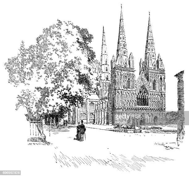 lichfield cathedral - spire stock illustrations