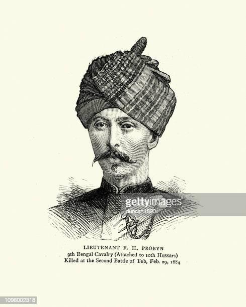 illustrations, cliparts, dessins animés et icônes de le lieutenant probyn, 9e cavalerie du bengale, 1884 - moustache