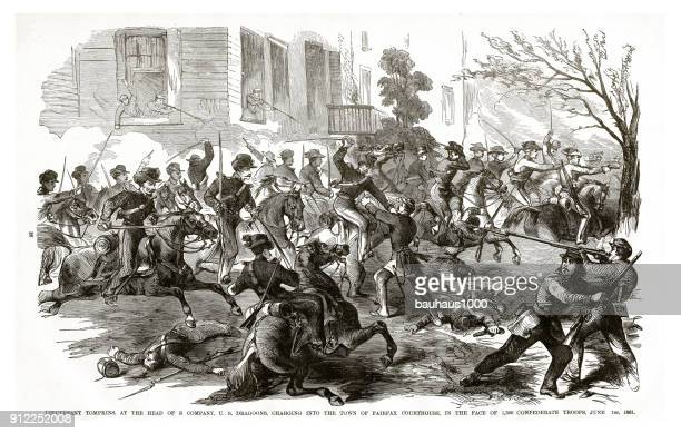 lieutenant tompkins charging into the town of fairfax courthouse in the face of 1,500 confederate troops, june 1, 1961 civil war engraving - us army urban warfare stock illustrations, clip art, cartoons, & icons
